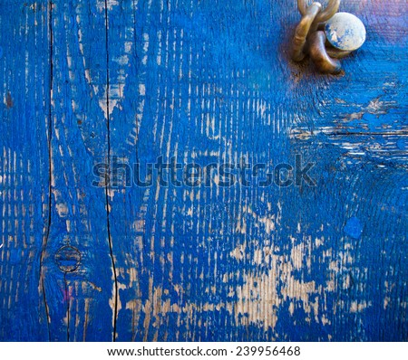 Intensive blue colored wood texture - stock photo