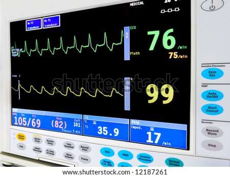 intensive care unit cardiac monitor - stock photo