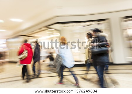Intentional blurred image of people