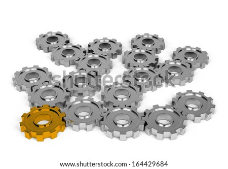 Interaction with each other gears. 3d image. White background. - stock photo