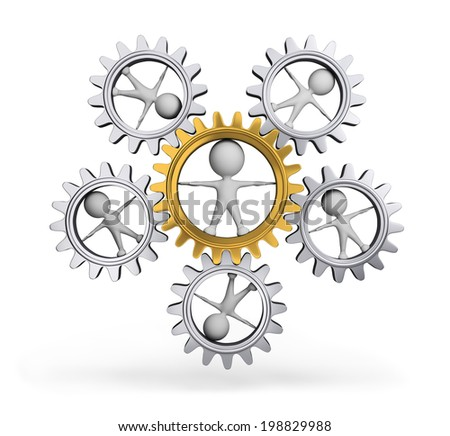 Interaction with each other person and gear wheel. 3d image. White background. - stock photo