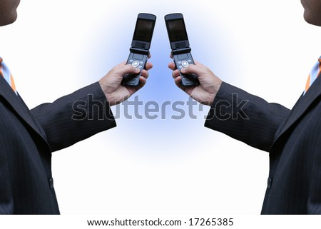 Interaction with new technology - stock photo