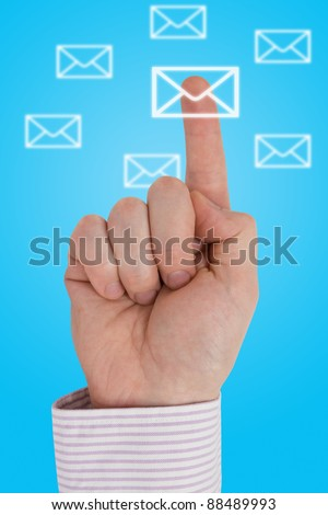 Interactive communication concept. Finger pointing letter icon - stock photo