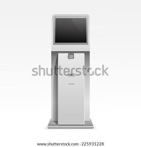 Interactive Information Kiosk Terminal Stand Screen Display Console Infokiosk - stock photo