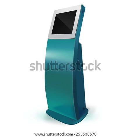 Interactive Information Kiosk Terminal Stand Touch Screen Display, white background  - stock photo