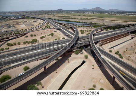 Interchange of Red Mountain 202 Freeway & Loop 101