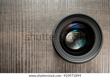Interchangeable camera lens. Focus on the glass - stock photo