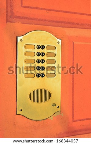 intercom and colorful wall
