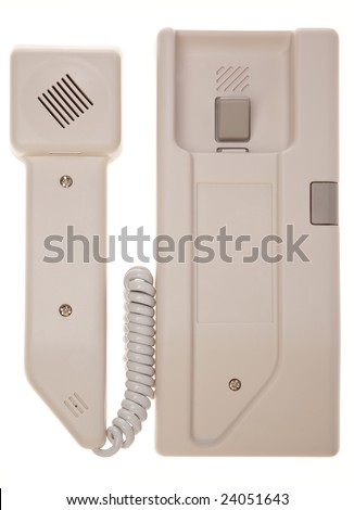 Intercom phone with button isolated in white background