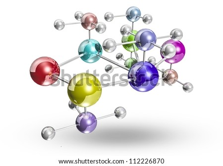 interconnected metal atoms isolated on white