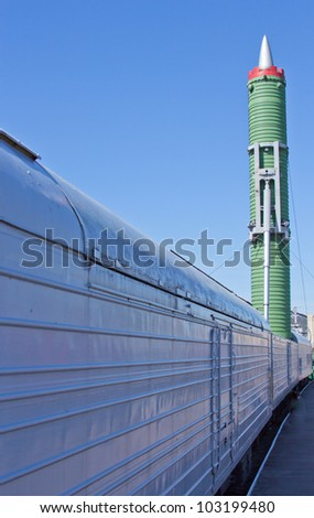 intercontinental  ballistic missile carried on the train - stock photo
