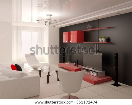 Interer functional modern living room, 3d rendering.
