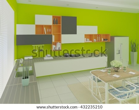 Interer modern cuisine , with a green background, 3d rendering. - stock photo