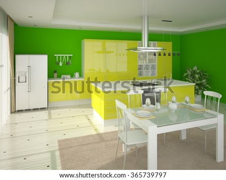 Interer modern kitchen in bright colors, 3d rendering.