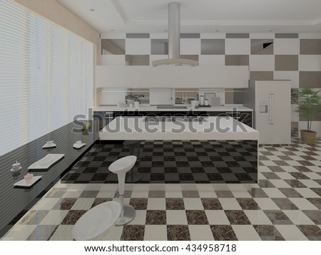 Interer modern kitchen with stylish furniture, 3d rendering. - stock photo