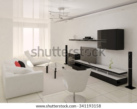 Interer modern living room, 3d render.
