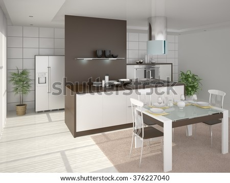 Interer perfect large comfortable kitchen, 3d rendering. - stock photo