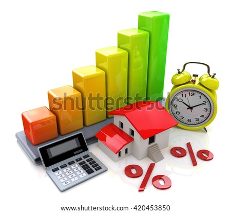 Interest on property loans in the design of access to information relating to the business and Real Estate. 3d illustration - stock photo