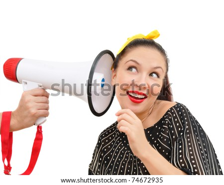 interested woman with megaphone, isolated on white - stock photo