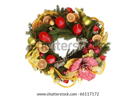 interesting advent wreath isolated on white - stock photo
