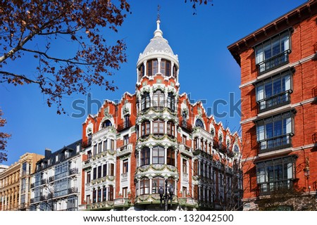 Interesting Building in Valladolid Downtown. 19Th century Style. - stock photo