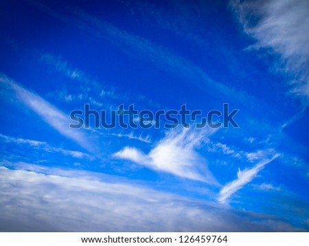 interesting cloudscape, like a flying bird - stock photo