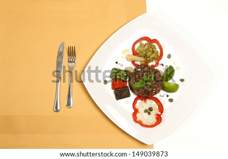 Interesting delicious food on plate with great design