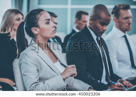 Interesting facts. Group of business people in formalwear sitting at the chairs in conference hall  sc 1 st  Shutterstock & Interesting Facts Group Business People Formalwear Stock Photo (Edit ...