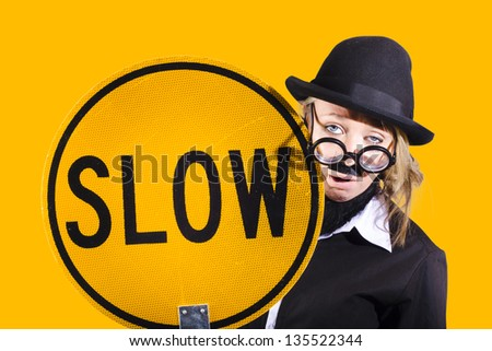 Interesting female comical character holding slow sign when portraying slow productivity or unproductive work habit