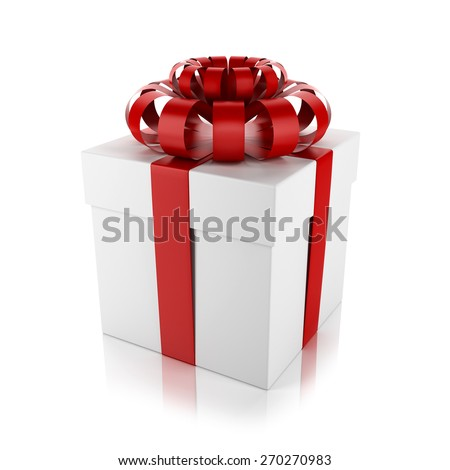 Interesting , festive, white gift with red ribbon isolated on white background