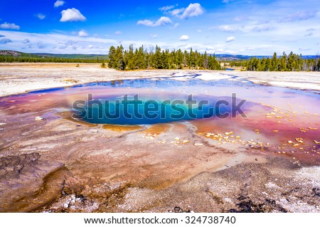 Interesting geology and beautiful colors in Yellowstone National Park, Wyoming, USA - stock photo