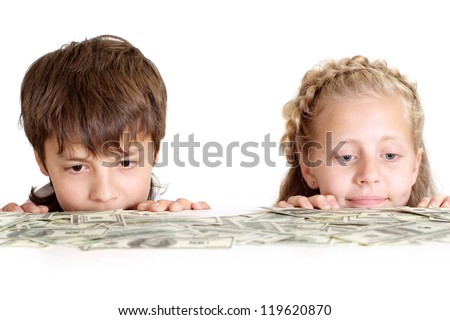 Interesting kid in the room on a white background - stock photo