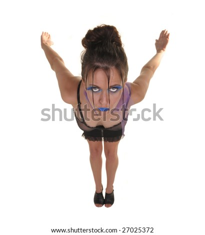 Interesting Perspective Image of a fashion Model On white - stock photo