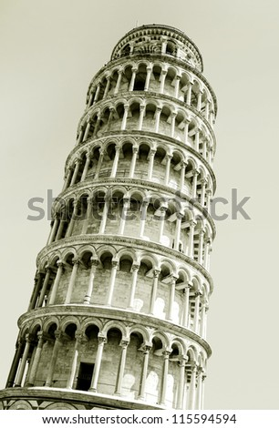 Interesting photo of the leaning tower of Pisa - stock photo
