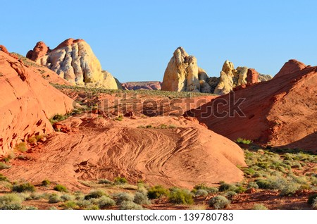 interesting rock formations at the Valley of Fire State Park near Las Vegas Nevada