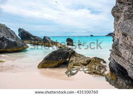 Interesting rock formations of Horseshoe Bay Beach in Bermuda. - stock photo