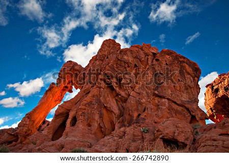 Interesting sandstone formation in Valley of Fire State Park, Nevada. - stock photo