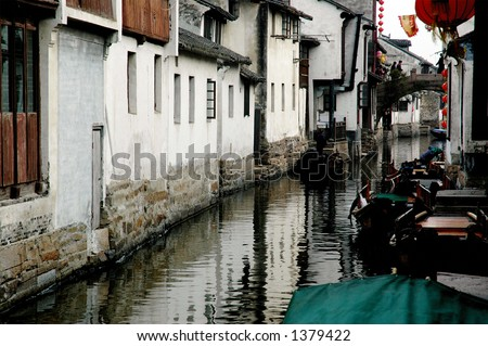 Interesting scene from a town in China with nickname Oriental Venice. More with keyword Series11A. - stock photo