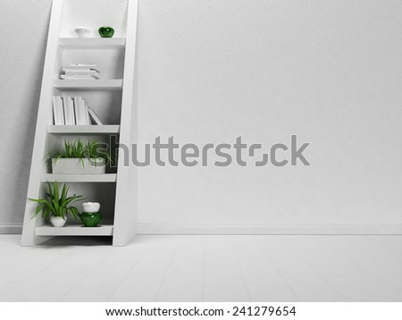 interesting shelf-ladder in the empty room, 3d rendering - stock photo
