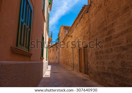 Interesting street in the old town of Palma de Mallorca, Spain - stock photo