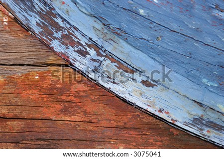 Interesting texture and colors from bottom of old wooden boat.