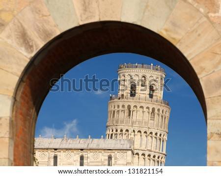 Interesting view of Leaning Tower of Pisa in Tuscany, Italy - stock photo