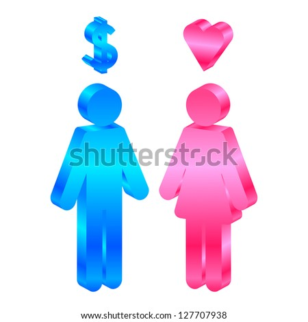 Interests - icon of man and woman - stock photo