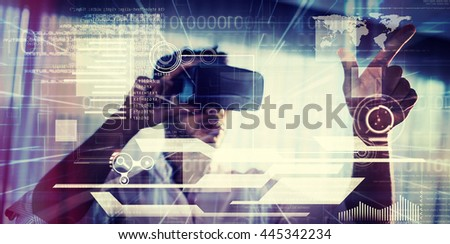 interface against businessman using an oculus - stock photo