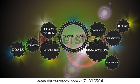 interface demonstrates the consulting concept based on gear wheels - stock photo