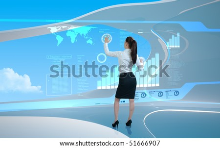 Interfaces collection - Brunette operating interface in air - stock photo