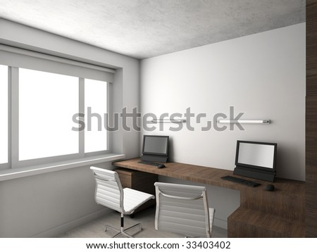 Interioir of modern cabinet. 3d render