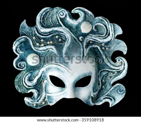 Interior and carnival mask embodying the element of water, isolated on black background/ More masks at http://www.shutterstock.com/sets/13916221-masks.html?rid=2867935 - stock photo