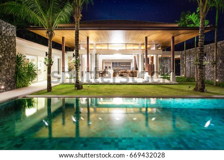 Interior And Exterior Design Of Pool Villa With Living Room
