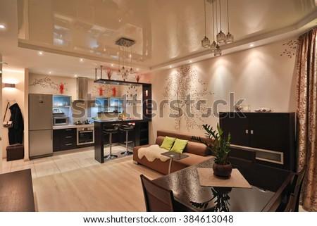 interior apartment furniture studio home kitchen room photo floor